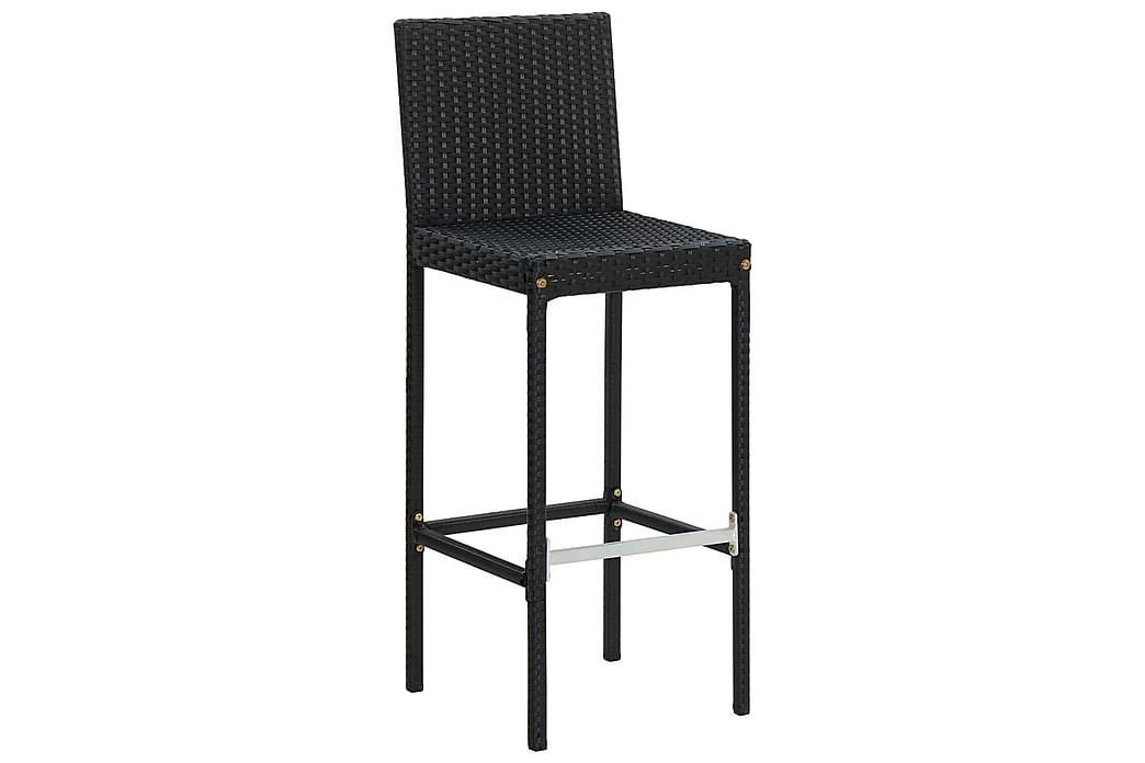 Barstole til haven med hynder 2 stk. polyrattan sort - Sort - Havemøbler - Stole & lænestole - Barstole