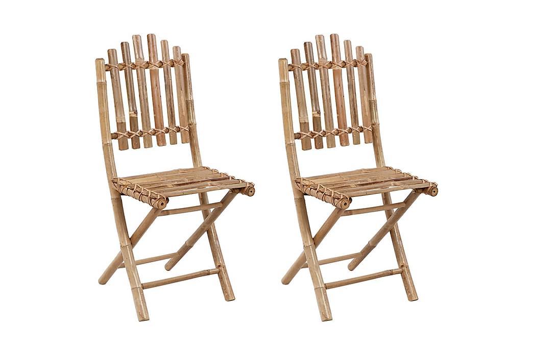 Foldbare Havestole 2 Stk. Med Hynder Bambus - Brun - Havemøbler - Stole & lænestole - Spisebordsstole