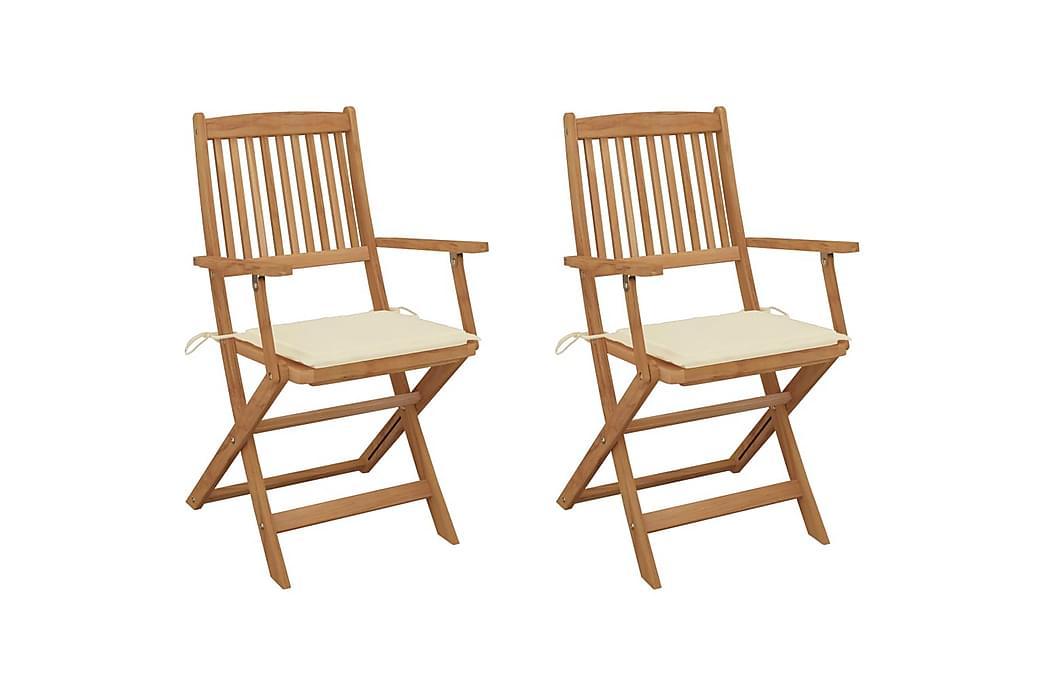 foldbare havestole 2 stk. med hynder massivt akacietræ - Havemøbler - Stole & lænestole - Spisebordsstole