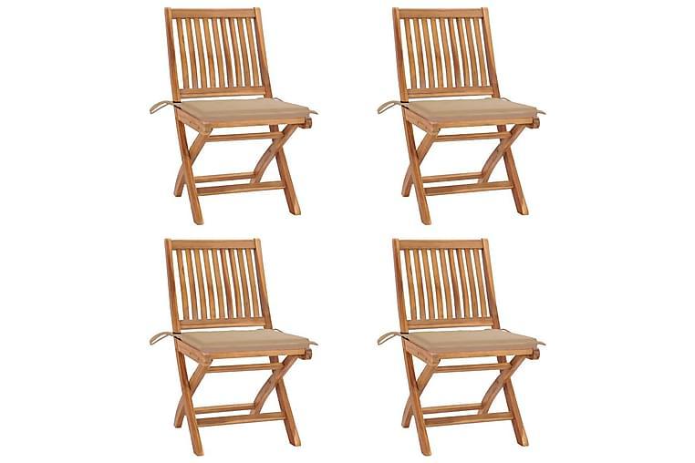 foldbare havestole 4 stk. med hynder massivt teaktræ - Brun - Havemøbler - Stole & lænestole - Spisebordsstole