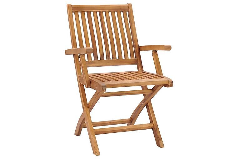 foldbare havestole 6 stk. med hynder massivt teaktræ - Brun - Havemøbler - Stole & lænestole - Spisebordsstole