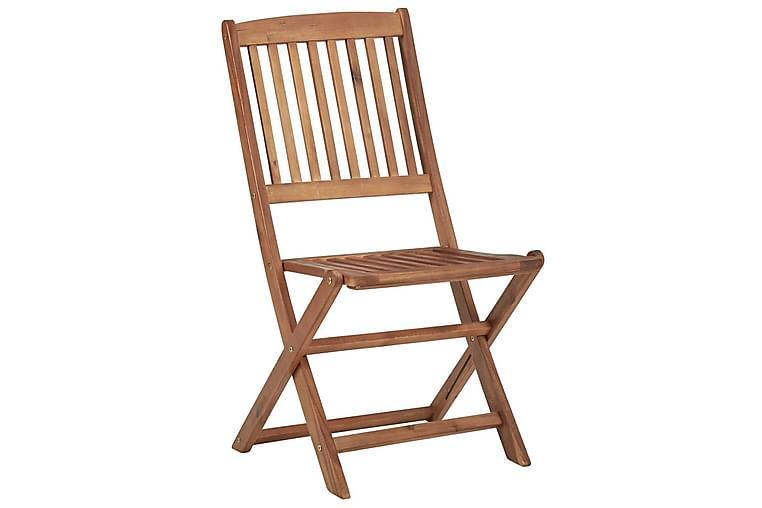 foldbare havestole 8 stk. med hynder massivt akacietræ - Brun - Havemøbler - Stole & lænestole - Spisebordsstole