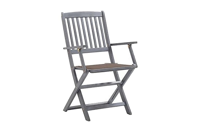 foldbare havestole 8 stk. med hynder massivt akacietræ - Grå - Havemøbler - Stole & lænestole - Spisebordsstole
