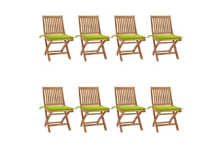 foldbare havestole 8 stk. med hynder massivt teaktræ - Brun - Havemøbler - Stole & lænestole - Spisebordsstole