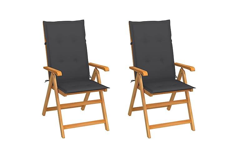 havestole 2 stk. med antracitgrå hynder massivt teaktræ - Antracit - Havemøbler - Stole & lænestole - Spisebordsstole