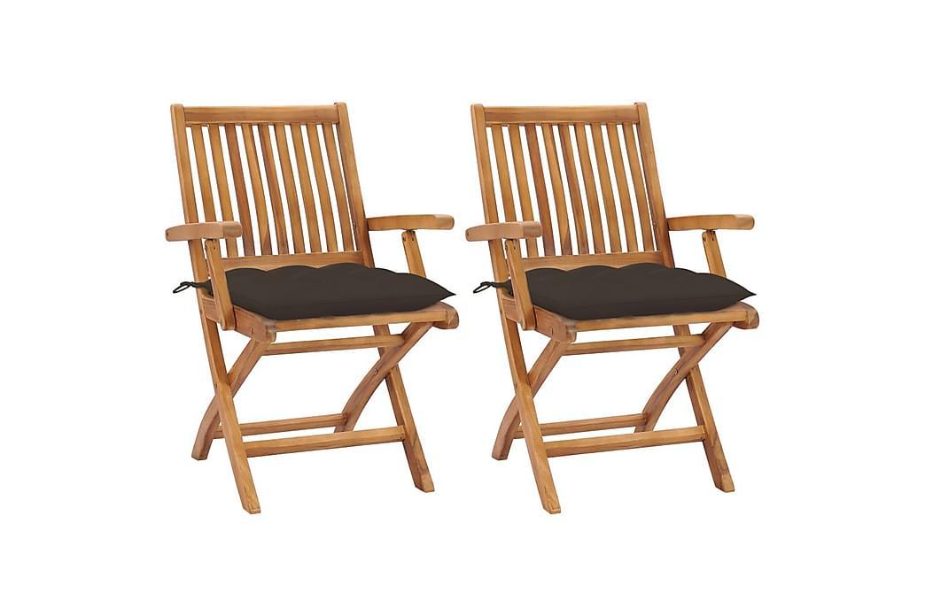 Havestole 2 Stk. Med Gråbrune Hynder massivt teaktræ - Gråbrun - Havemøbler - Stole & lænestole - Spisebordsstole