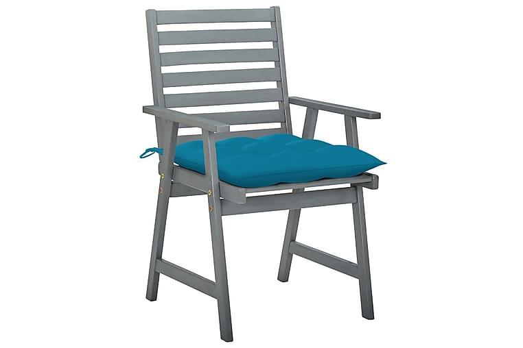 Havestole 2 Stk. Med Hynder massivt Akacietræ - Grå - Havemøbler - Stole & lænestole - Spisebordsstole