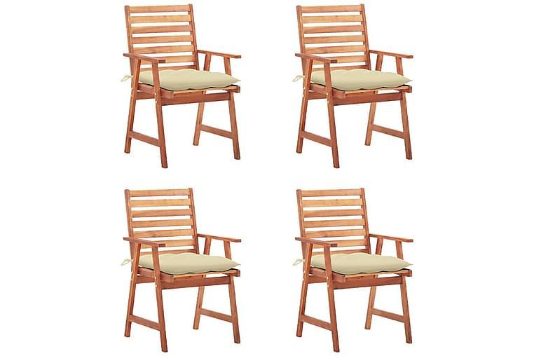 havestole 4 stk. med hynder massivt akacietræ - Brun - Havemøbler - Stole & lænestole - Spisebordsstole