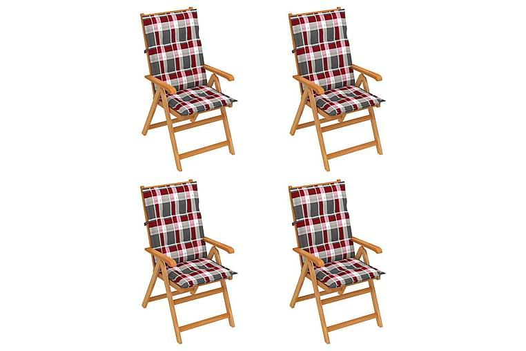 Havestole 4 Stk. Rødternede Hynder massivt teaktræ - Flerfarvet - Havemøbler - Stole & lænestole - Spisebordsstole