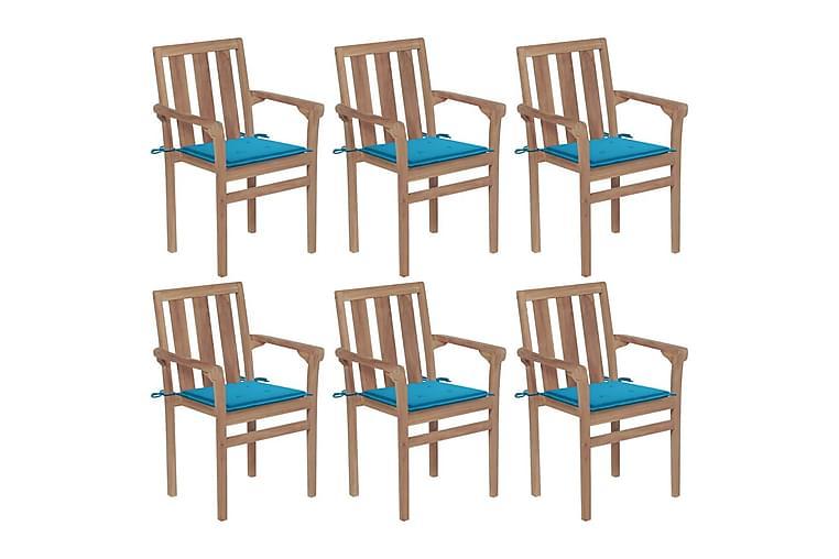 havestole 6 stk. med hynder stabelbare massivt teaktræ - Brun - Havemøbler - Stole & lænestole - Spisebordsstole