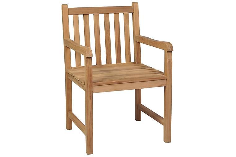 havestole 8 stk. massivt teaktræ - Brun - Havemøbler - Stole & lænestole - Spisebordsstole
