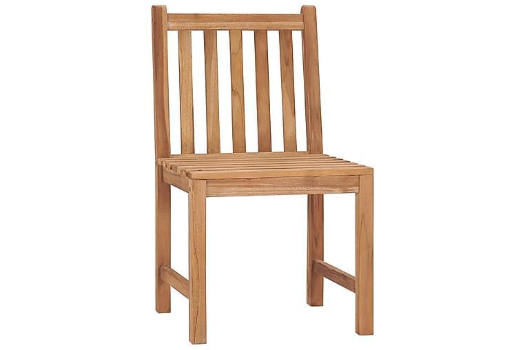 havestole 8 stk. med hynder massivt teaktræ - Brun - Havemøbler - Stole & lænestole - Spisebordsstole