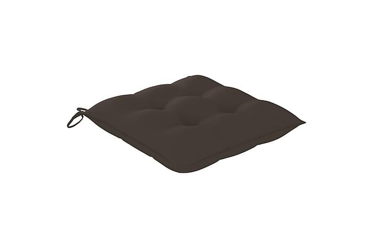 Havestole Med Gråbrune Hynder 6 Stk. massivt teaktræ - Gråbrun - Havemøbler - Stole & lænestole - Spisebordsstole