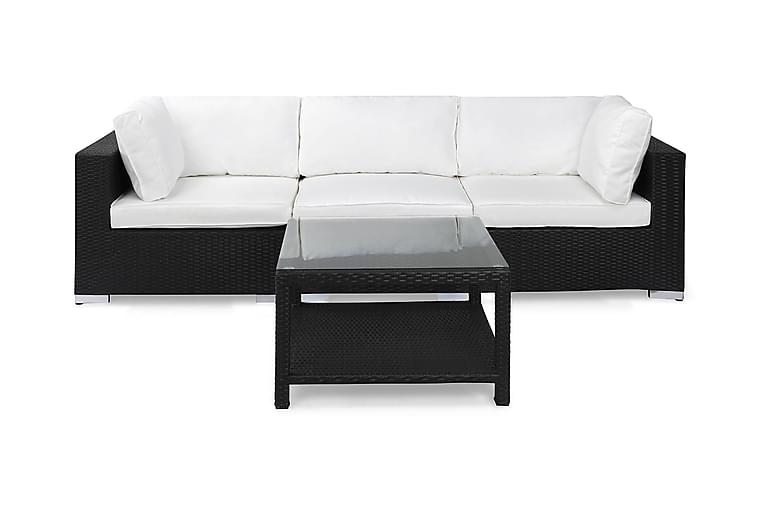 Bahamas Loungesæt 3 Personers+Bord 75x75 - Sort - Havemøbler - Loungemøbler - Loungesæt