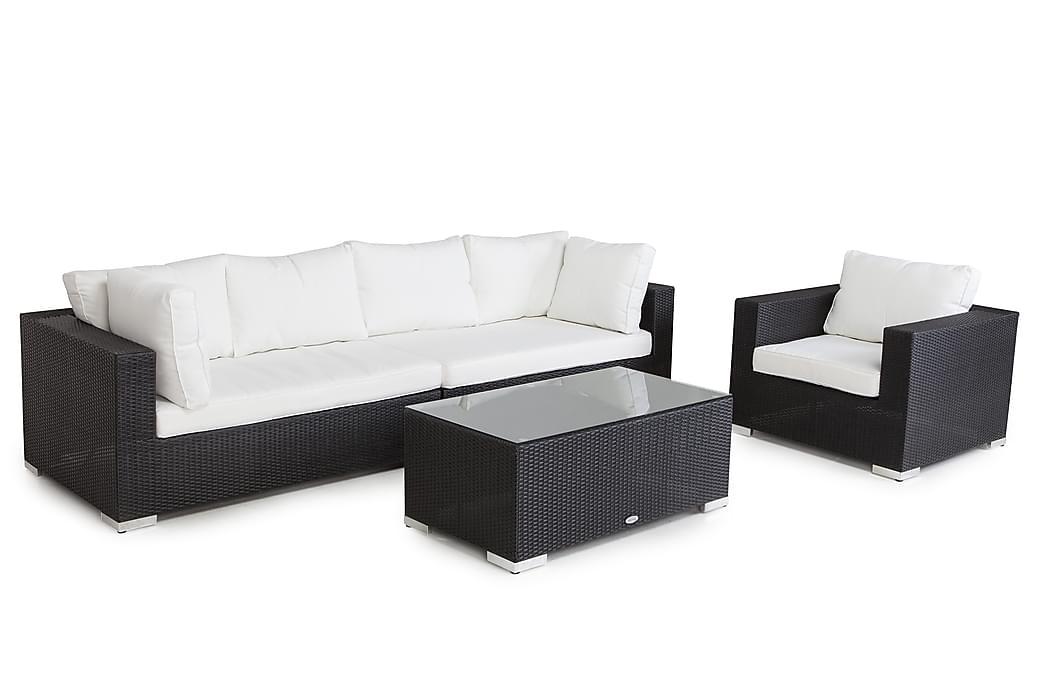 Bahamas Loungesæt 5 Personers+Bord - Sort - Havemøbler - Loungemøbler - Loungesæt
