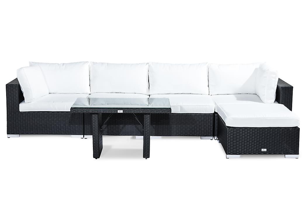 Bahamas Loungesæt 5-Personers - Sort Bord Chaiselong - Havemøbler - Loungemøbler - Loungesæt