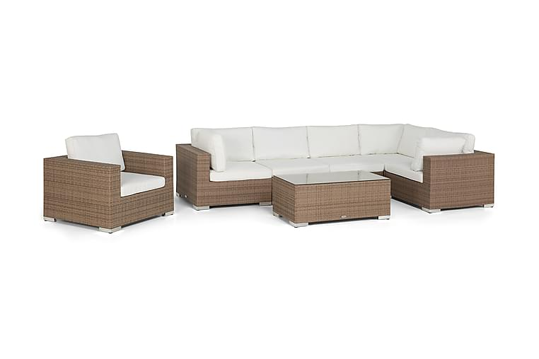 Bahamas Loungesæt 6 Personers+Bord - Sand - Havemøbler - Loungemøbler - Loungesæt