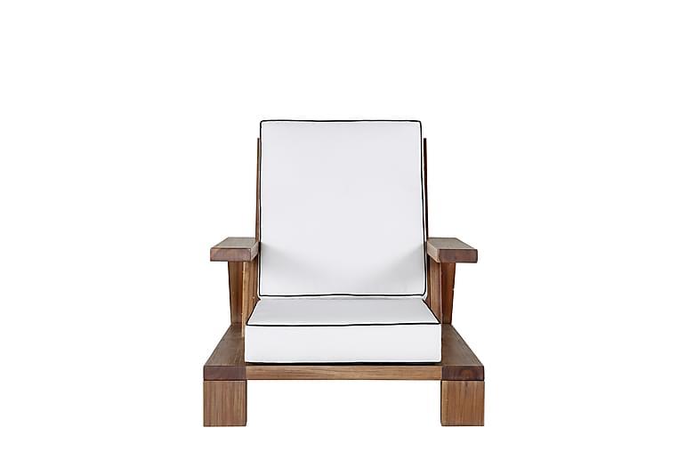 Damir Lænestol med Hynde - Akacie/Hvid - Havemøbler - Loungemøbler - Loungesæt