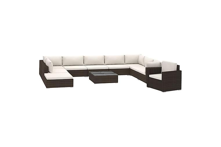 Haveloungesæt 11 dele med hynder polyrattan brun - Brun - Havemøbler - Loungemøbler - Loungesæt