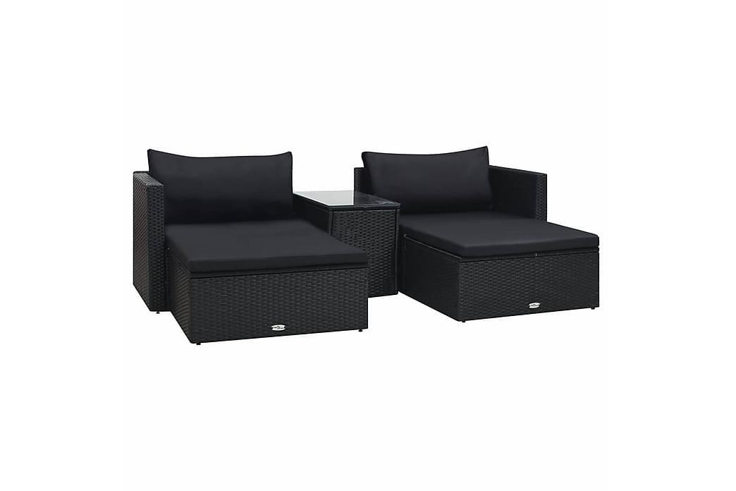 Haveloungesæt 5 Dele Med Hynder Polyrattan Sort - Sort - Havemøbler - Loungemøbler - Loungesæt