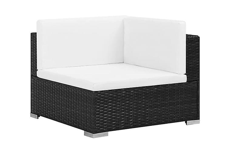 Haveloungesæt 6 Dele Med Hynder Polyrattan Sort - Sort - Havemøbler - Loungemøbler - Loungesæt