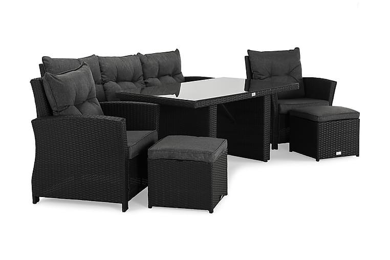 James Loungesæt Sort/Glas - Bord Sofa 2 stk Puf m Hynde - Havemøbler - Loungemøbler - Loungesæt