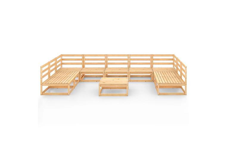 loungesæt til haven 10 dele massivt fyrretræ - Brun - Havemøbler - Loungemøbler - Loungesæt