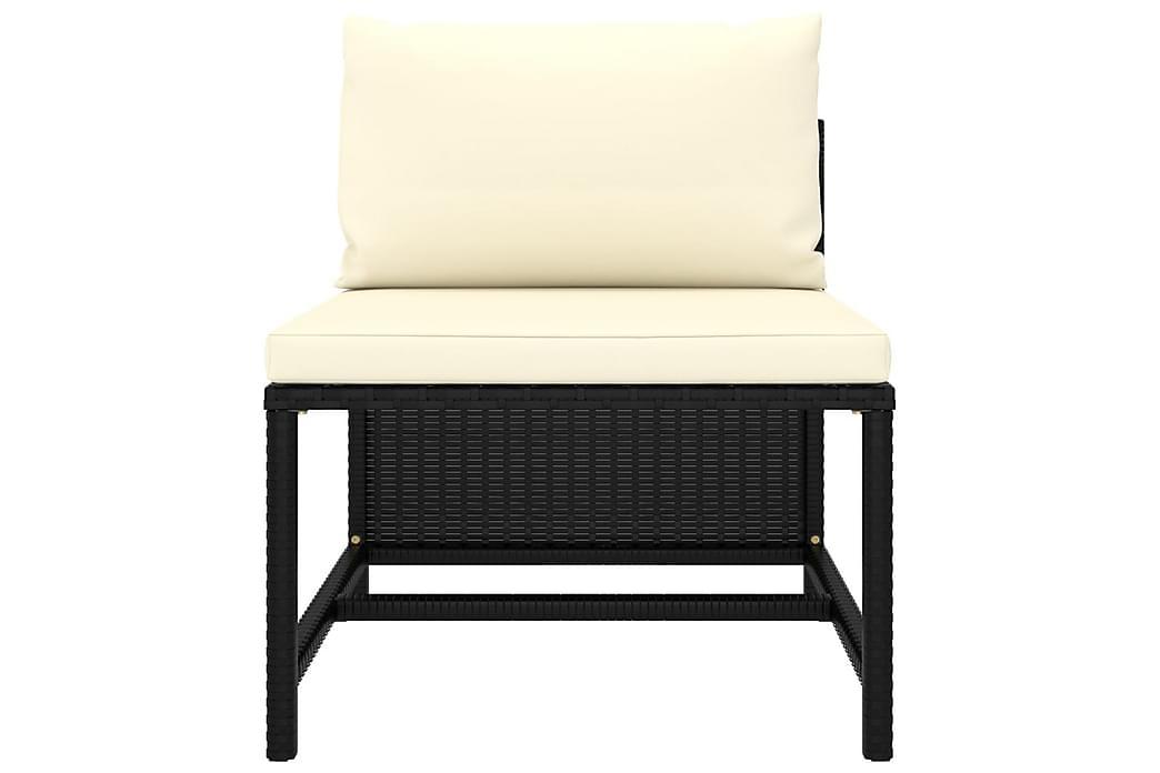 Loungesæt til haven 6 dele med hynder polyrattan sort - Sort - Havemøbler - Loungemøbler - Loungesæt
