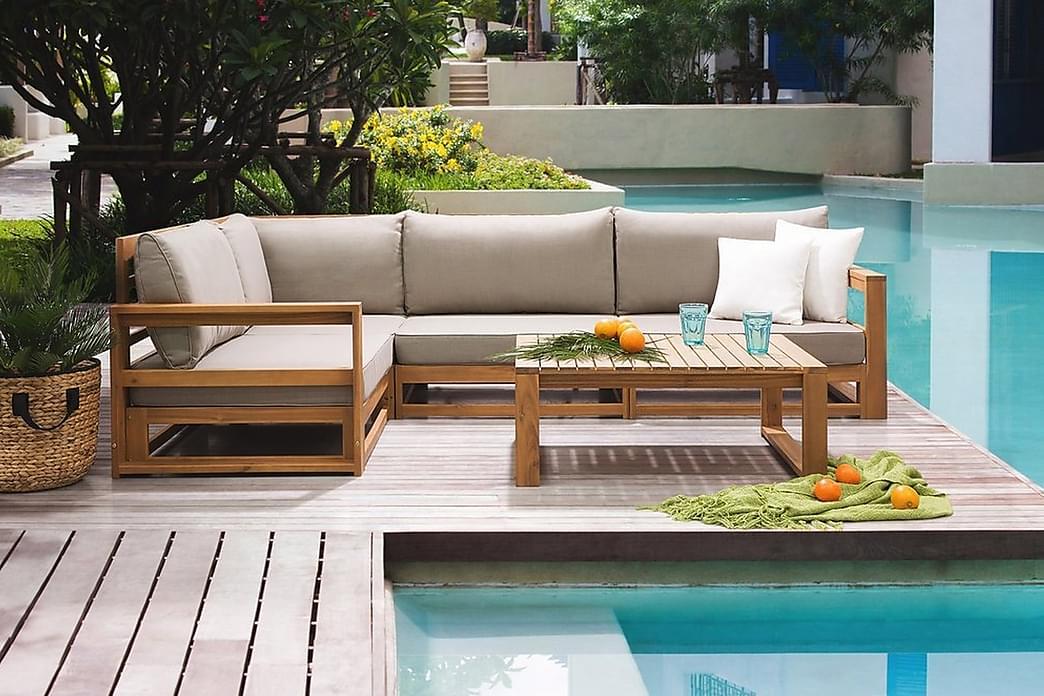 Timor Loungegruppe 90 cm - Træ / natur - Havemøbler - Loungemøbler - Loungesæt