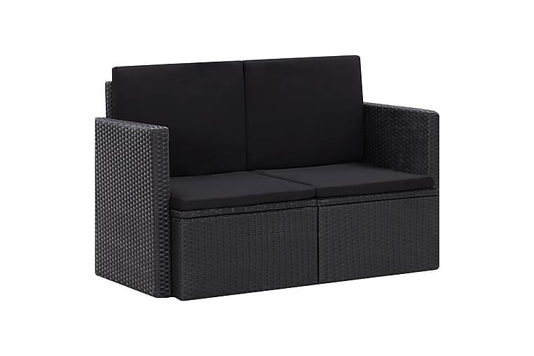 2-Personers Havesofa med Hynder Polyrattan Sort - Sort - Havemøbler - Loungemøbler - Loungesofaer
