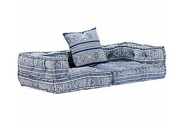2-personers sovesofa modulær stof indigoblå