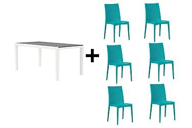 Agadir Spisebordssæt 160 + 6 Nadia Stol