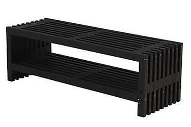 Rustik træbænk Design 138x49x45cm m/hylde - sort