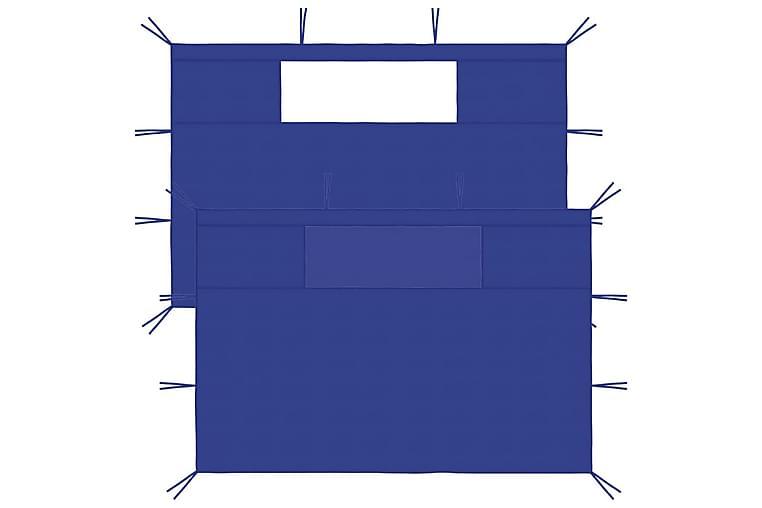 pavillonvægge med vinduer 2 stk. blå - Blå - Havemøbler - Solafskærmning - Havepavilloner