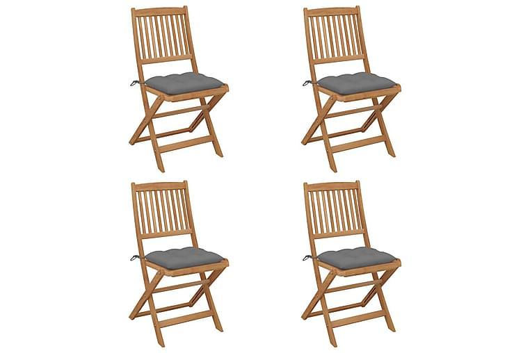 foldbare havestole 4 stk. med hynder massivt akacietræ - Havemøbler - Solafskærmning - Markiser
