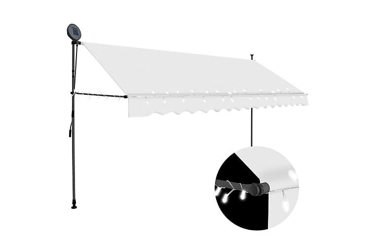 foldemarkise manuel betjening med LED 400 cm cremefarvet - Creme - Havemøbler - Solafskærmning - Markiser