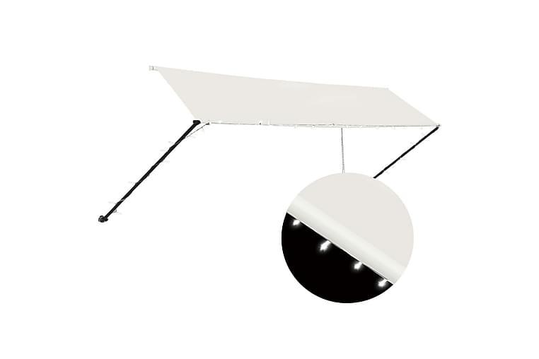 foldemarkise med LED 400x150 cm cremefarvet - Creme - Havemøbler - Solafskærmning - Markiser