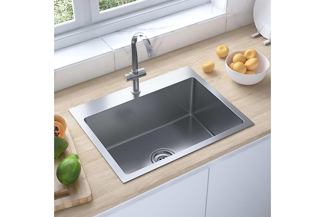 håndlavet køkkenvask med afløbshul rustfrit stål - Sølv - Havemøbler - Solafskærmning -