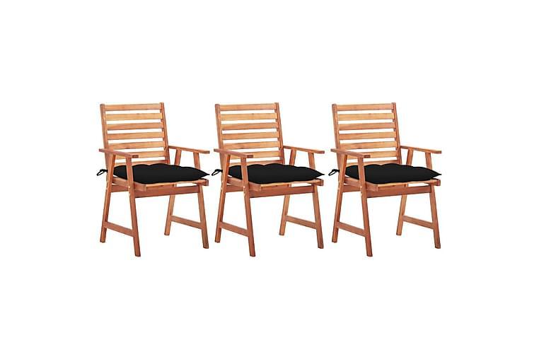 havestole 3 stk. med hynder massivt akacietræ - Brun - Havemøbler - Solafskærmning - Markiser