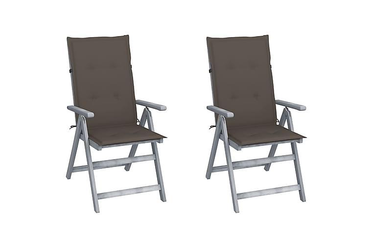 lænestole til haven 2 stk. med hynder massivt akacietræ - Grå - Havemøbler - Solafskærmning - Markiser