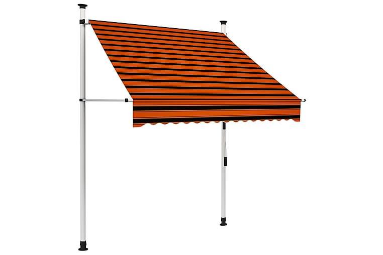 manuel foldemarkise 150 cm orange og brun - Flerfarvet - Havemøbler - Solafskærmning - Markiser