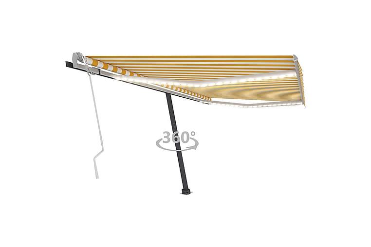 markise m. LED-lys 400x350 cm manuel betjening gul og hvid - Gul - Havemøbler - Solafskærmning - Markiser