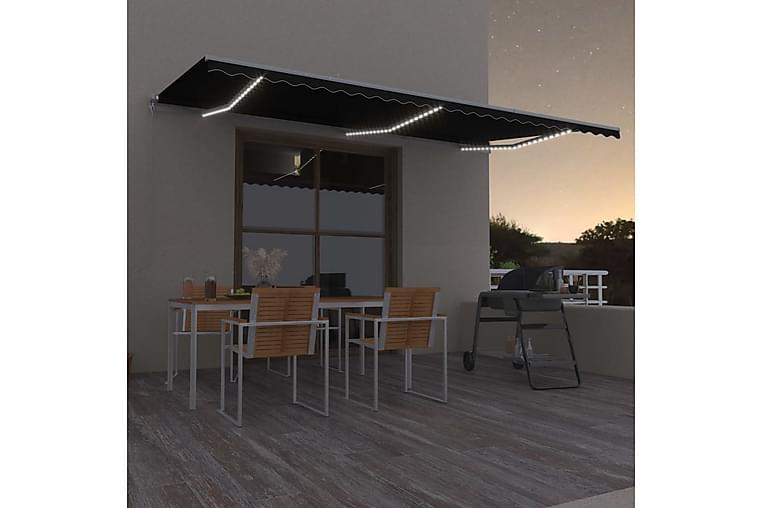 markise m. LED-lys 600x300 cm manuel betjening antracitgrå - Antracit - Havemøbler - Solafskærmning - Markiser