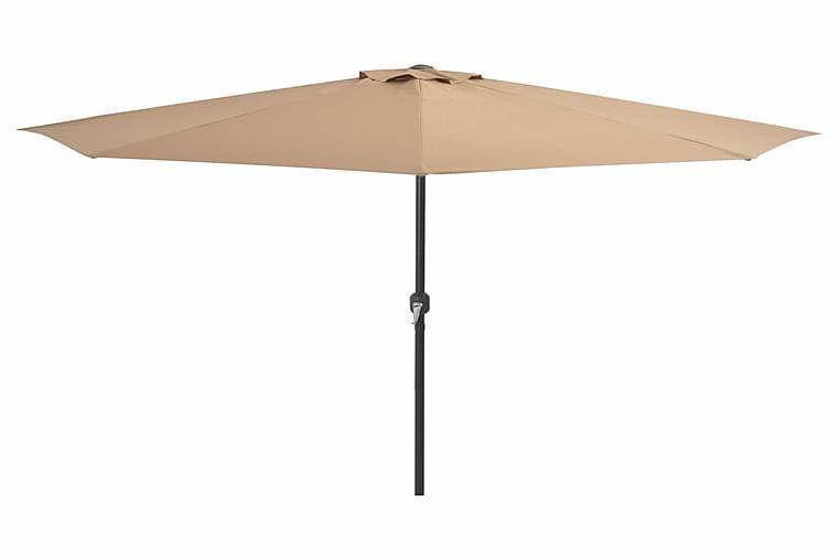 Balkonparasol Med Aluminumsstang Gråbrun 300 X 150 Cm Halv - Brun - Havemøbler - Solafskærmning - Parasoller