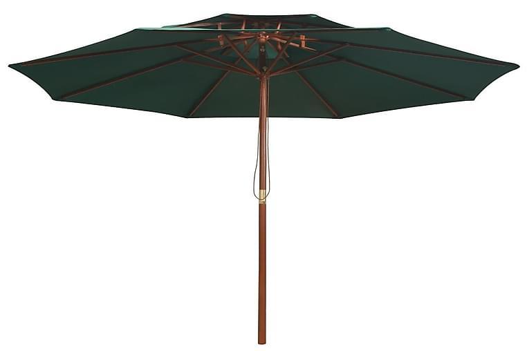 Dobbeltdækkerparasol 270 X 270 Cm Træstang Grøn - Grøn - Havemøbler - Solafskærmning - Parasoller