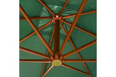 Hængende Parasol 300 X 300 Cm Træstang Grøn