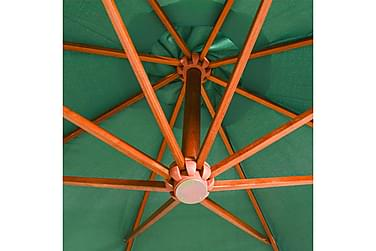 Hængende Parasol 350 Cm Træstang Grøn