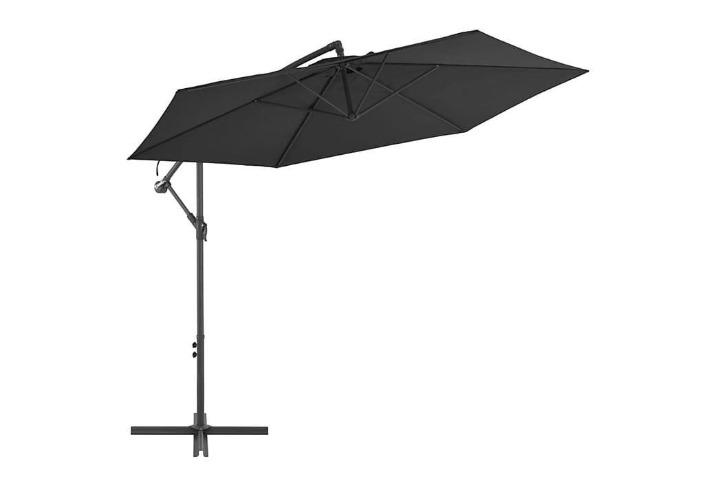 hængeparasol med aluminiumstang 300 cm sort - Sort - Havemøbler - Solafskærmning - Parasoller
