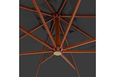 Hængeparasol Med Træstang 400 X 300 Cm Antracitgrå