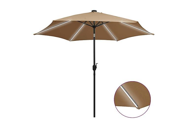 Parasol med Led-Lys Og Aluminiumsstang 300 cm Gråbrun - Brun - Havemøbler - Solafskærmning - Parasoller